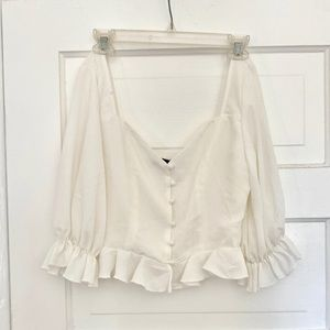 BNWT Peplum Puff Sleeve Top